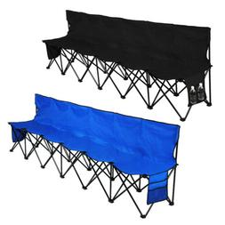 Folding Chair Sports 6 Seat Sideline Portable Team Bench w/S