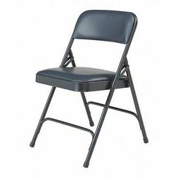 NATIONAL PUBLIC SEATING Folding Chair, Vinyl, Blue,PK4, 1204
