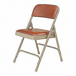 NATIONAL PUBLIC SEATING Folding Chair, Vinyl, Brown,PK4, 120