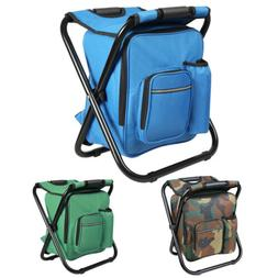 Folding Fishing Stool Insulated Cooler Bag Backpack Chair Pi