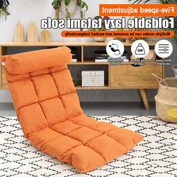 Folding Lazy Sofa Chair Adjustable 5-Position Floor Gaming C