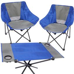 FOLDING OUTDOOR CAMPING BEACH CHAIR SET FOLDABLE TABLE WITH