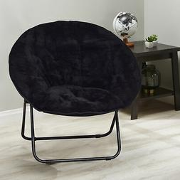 Mainstays Folding Plush Saucer Chair, Black Faux Fur Color N