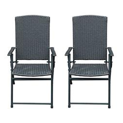 SunLife Folding Rattan Chairs Outdoor Indoor Foldable Campin