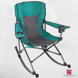 Folding Rocking Camping Chair with Cup Holders Durable Outdo