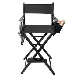 Folding Solid Hardwood Makeup Director Chair with storage ba