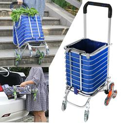 Folding Stairs Double Handle Shopping Cart With 8 Wheels Oxf