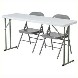 Bowery Hill Folding Table and 2 Folding Chairs in Gray and W