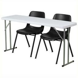 Bowery Hill Folding Table and 2 Stacking Chairs in Black and