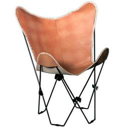 Genuine Leather Butterfly Chair Folding Lounge Modern Sling
