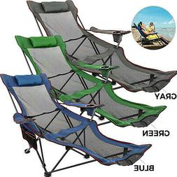 Green/Blue/Gray Reclining Folding Camp Chair W/ Footrest Mes
