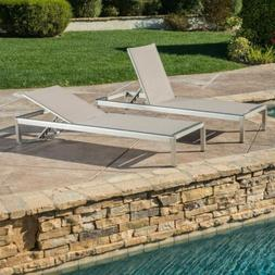 Holborn Outdoor Modern Gray Mesh Chaise Lounge with Wheels