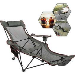 Grey Reclining Folding Camp Chair With Footrest Relaxation S