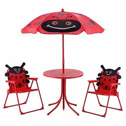 Costway Kids Patio Set Table And 2 Folding Chairs w/ Umbrell