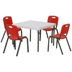 Lifetime Kids Table and Chairs, Pack of 5 - Red