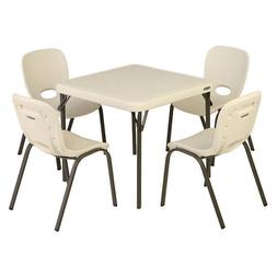 Lifetime Kids Table with 4 Almond Chairs, Home School Or Day