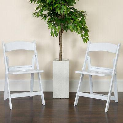 2 Pack White Resin Slatted Party & Rental Folding Chair Indo