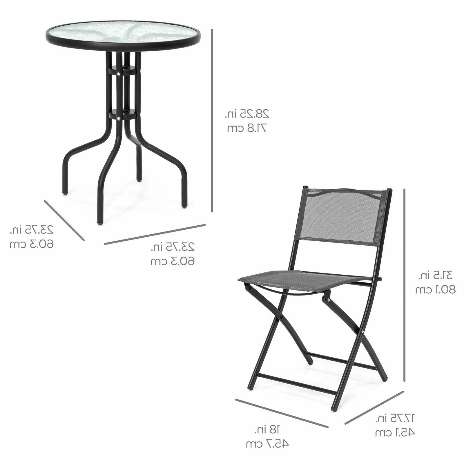 3PCS Bistro Glass Top Table Folding Indoor Furniture