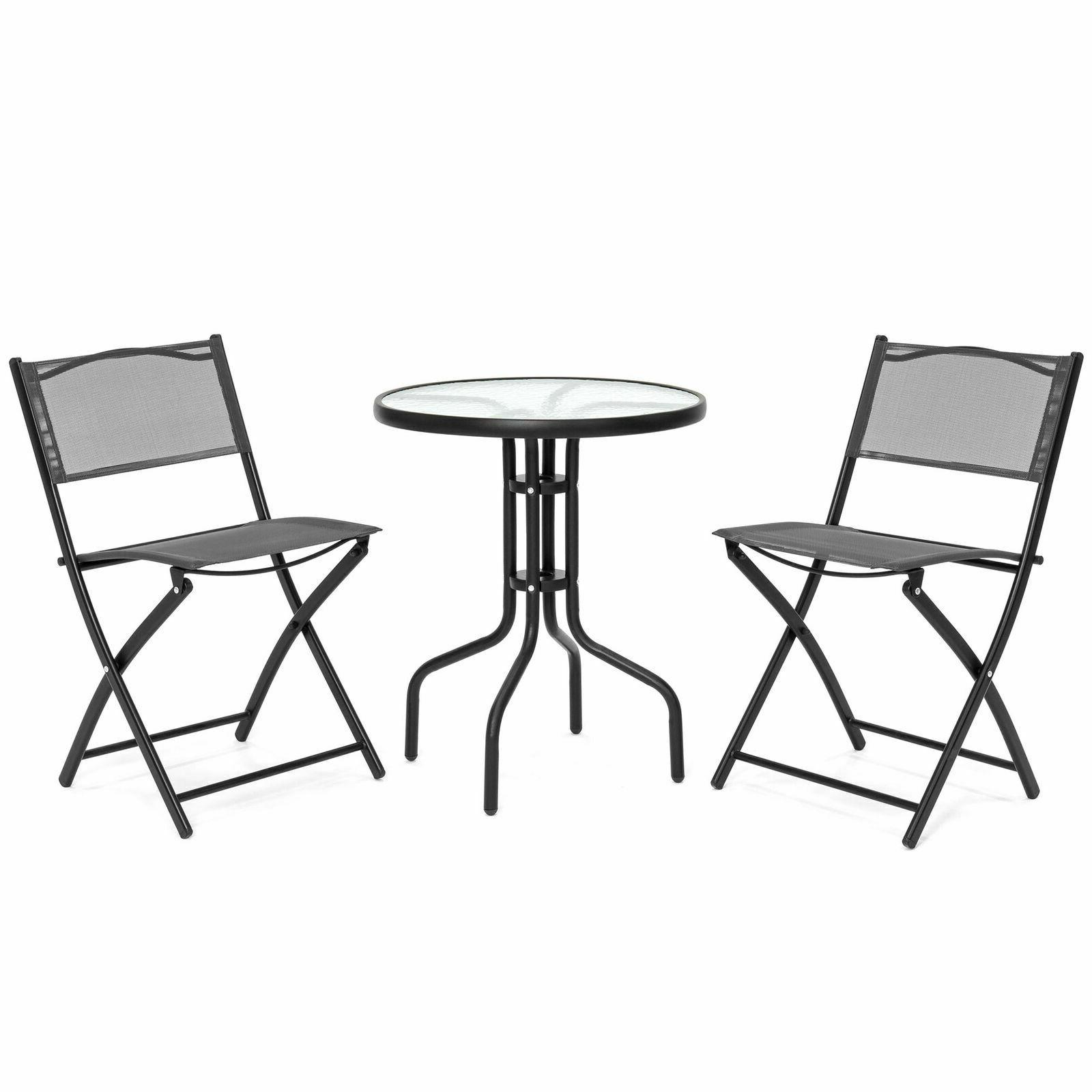 3pcs bistro dining set glass top table
