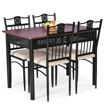 5 Dining Wood 4 Chairs with