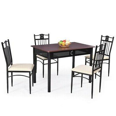 5 Dining Set Wood Metal 4 Chairs