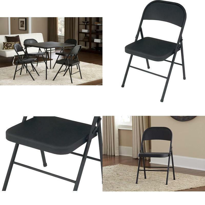 all steel folding chair black 4 pack