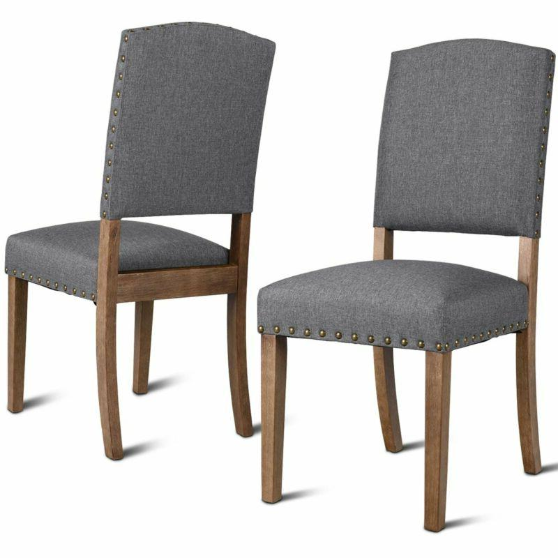Giantex Armess Wood Dining Chair Set Upholstered Nailhead Pa