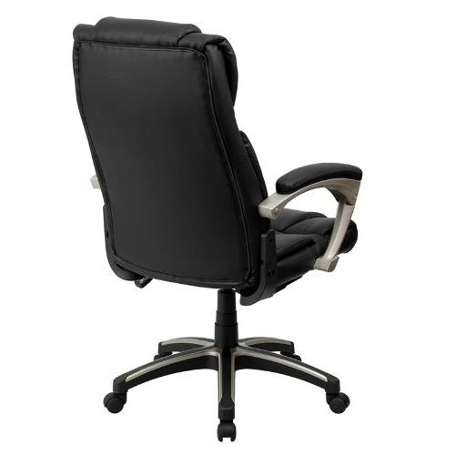 Flash Folding Black Leather Executive Swivel Chair with