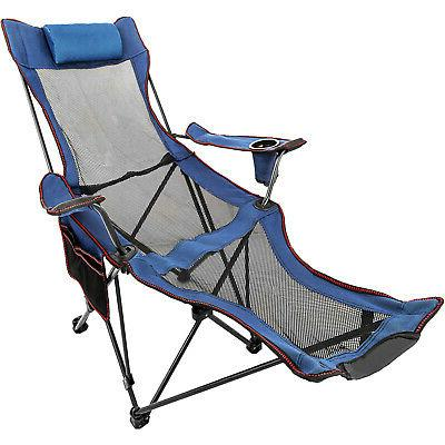 blue reclining folding camp chair with footrest