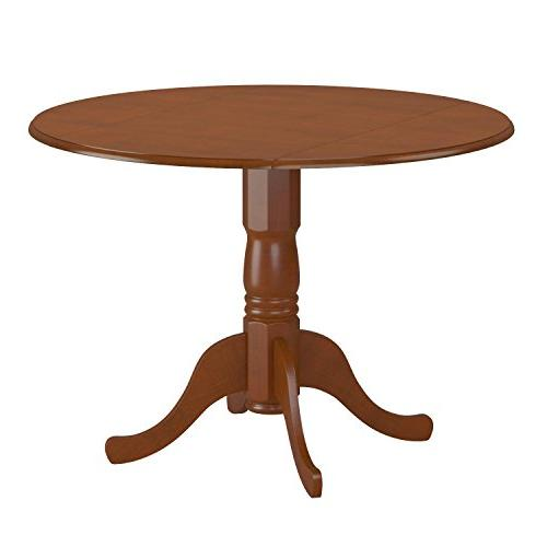 East West Furniture Round Table with 9-Inch Leaves, Brown