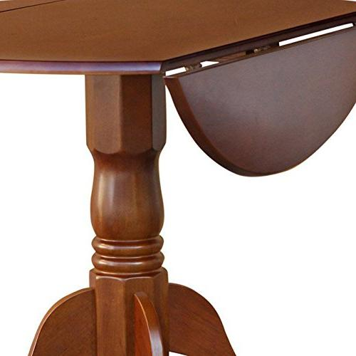East West Furniture Round Table Two 9-Inch Leaves, Brown Finish