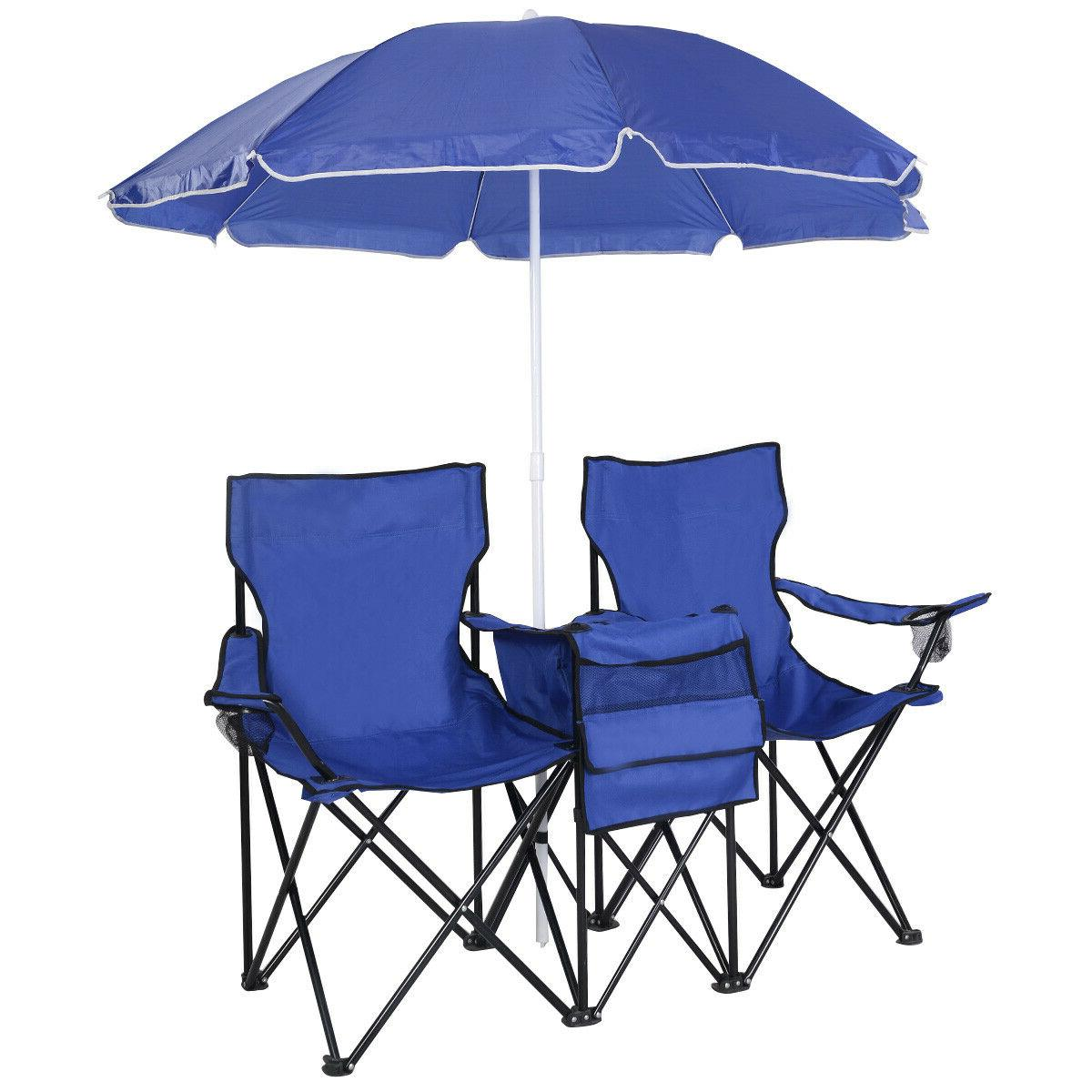 double portable outdoor fishing 2 seat blue