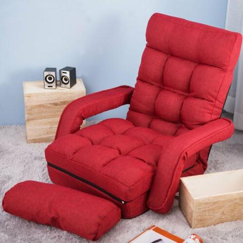 Red Folding Lazy Sofa Floor Cushioned Lounger Bed Adjustable