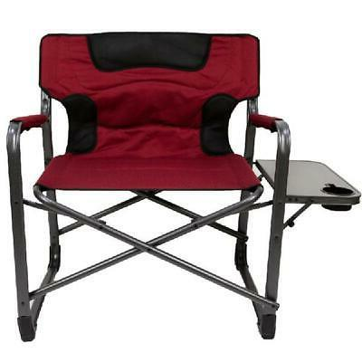 Ozark Trail XXL Folding Padded Director Chair Side Table Red