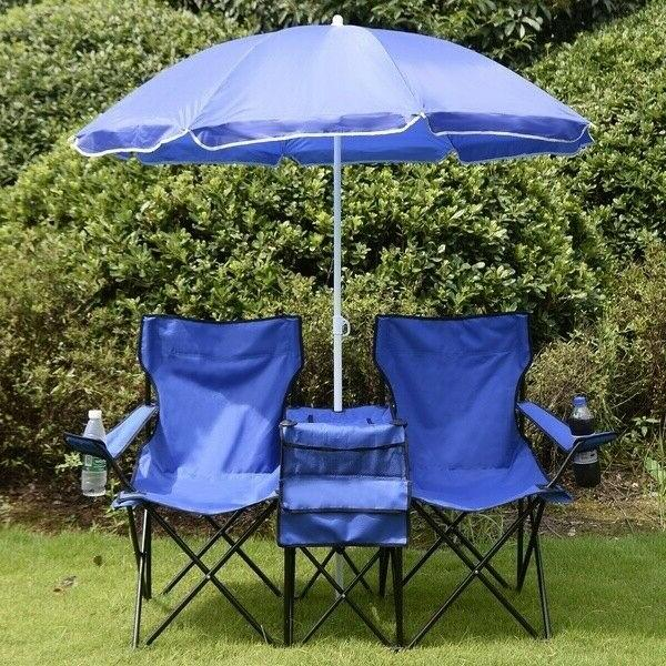 Folding Double Chair+Umbrella Table Cooler Fishing Travel