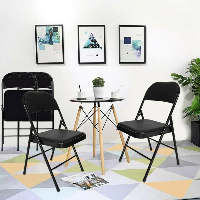 Steel Folding Chair with Padded Seat Backrest Graphite Black