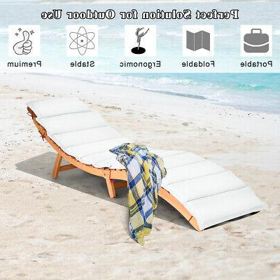 Folding Wooden Lounge Chair Chaise Cushion Pad
