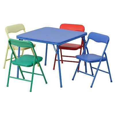 Flash Furniture Kids Colorful 5 Piece Folding Table and Chai