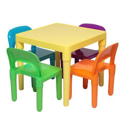 5PCS Kids Table&Chairs Play Set Toddler Child Toy Activity F