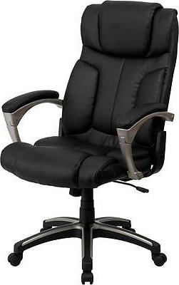LOT OF 8 HIGH BACK FOLDING BLACK LEATHER EXECUTIVE OFFICE CH