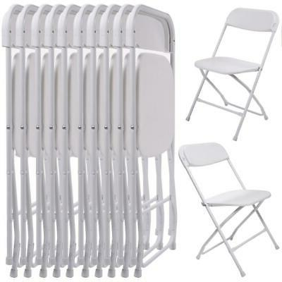 Hot 10Pcs Commercial White Plastic Folding Chairs Stackable