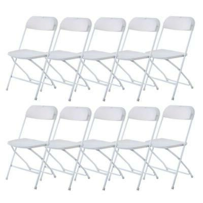 White Set of 10 Commercial Plastic Folding Chairs Stackable