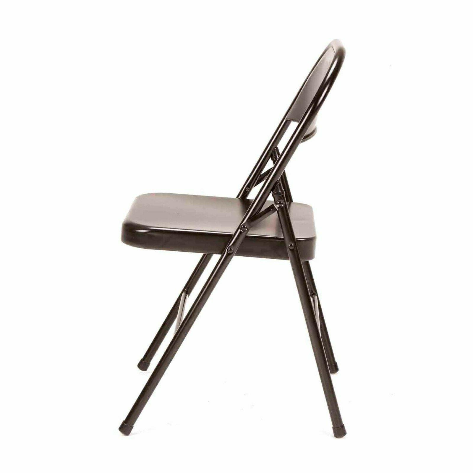 4-PACK Traditional Steel Folding Chair with Rubber-Cap Prote