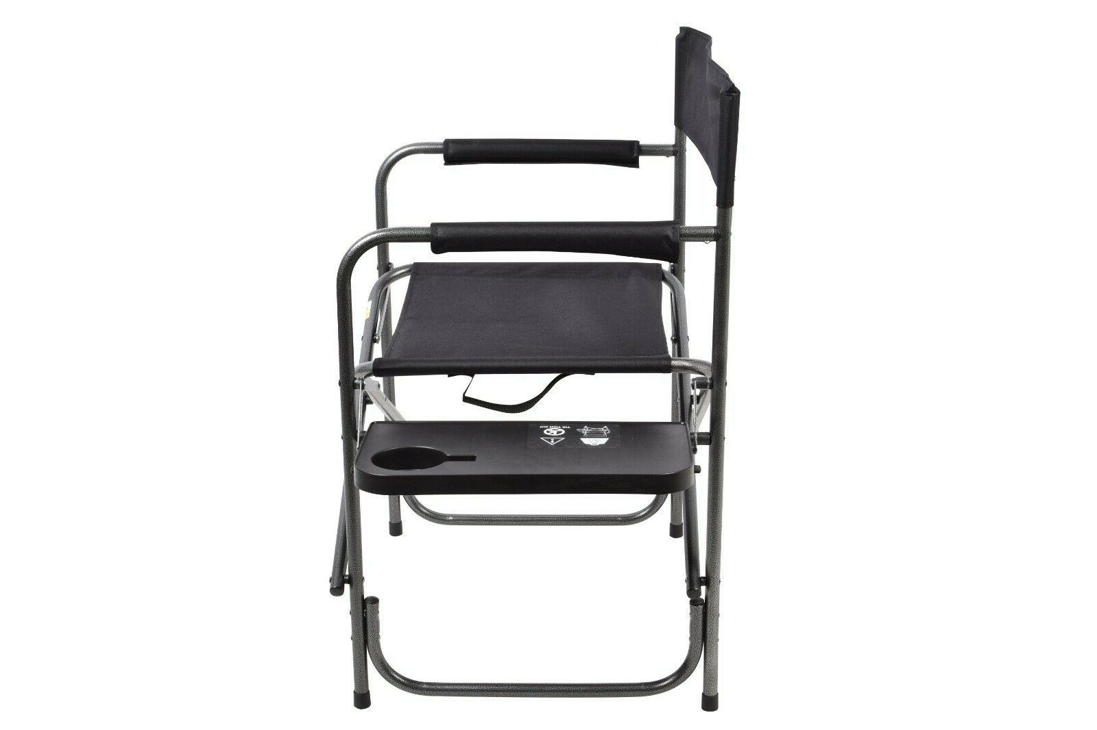 Outdoor Camping Folding Duty Chair Foldout Side Table 400lbs