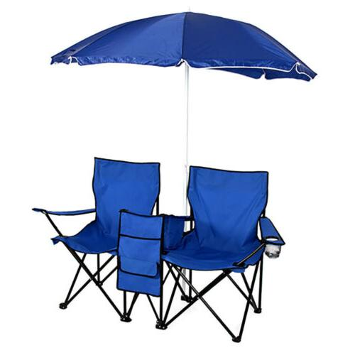 Picnic Double Folding Chair w/ Umbrella Table Cooler Fold Up