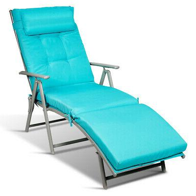 Outdoor Chair Recliner w/Cushion Turquoise