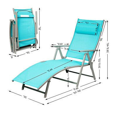 Outdoor Folding Chaise Lounge Chair Lightweight Recliner Turquoise