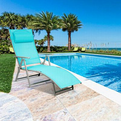 Outdoor Chaise Chair Recliner Turquoise