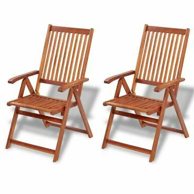 Patio Outdoor Garden 2 Folding 5-Position Dining Chairs Soli