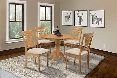 5 Piece Round Dining Room Table Chair Set with 9 Drop Leaf i